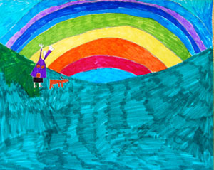Kid, dog and rainbow